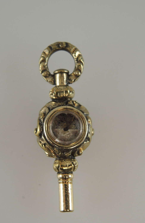 Victorian fancy stone set pocket watch key c1850
