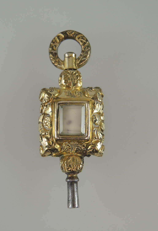 Victorian large fancy stone set pocket watch key c1850