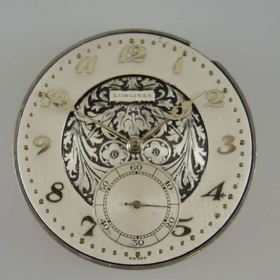 Top quality Longines pocket watch movement with a beautiful dial c1920