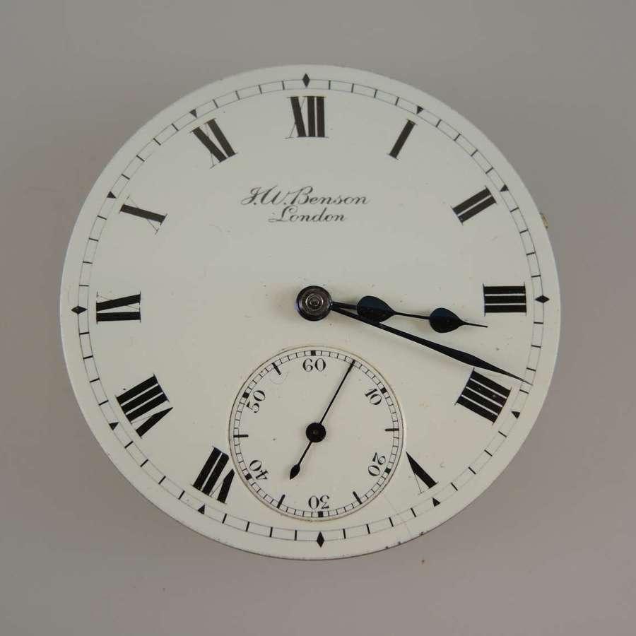 English J W Benson The Field pocket watch movement c1900