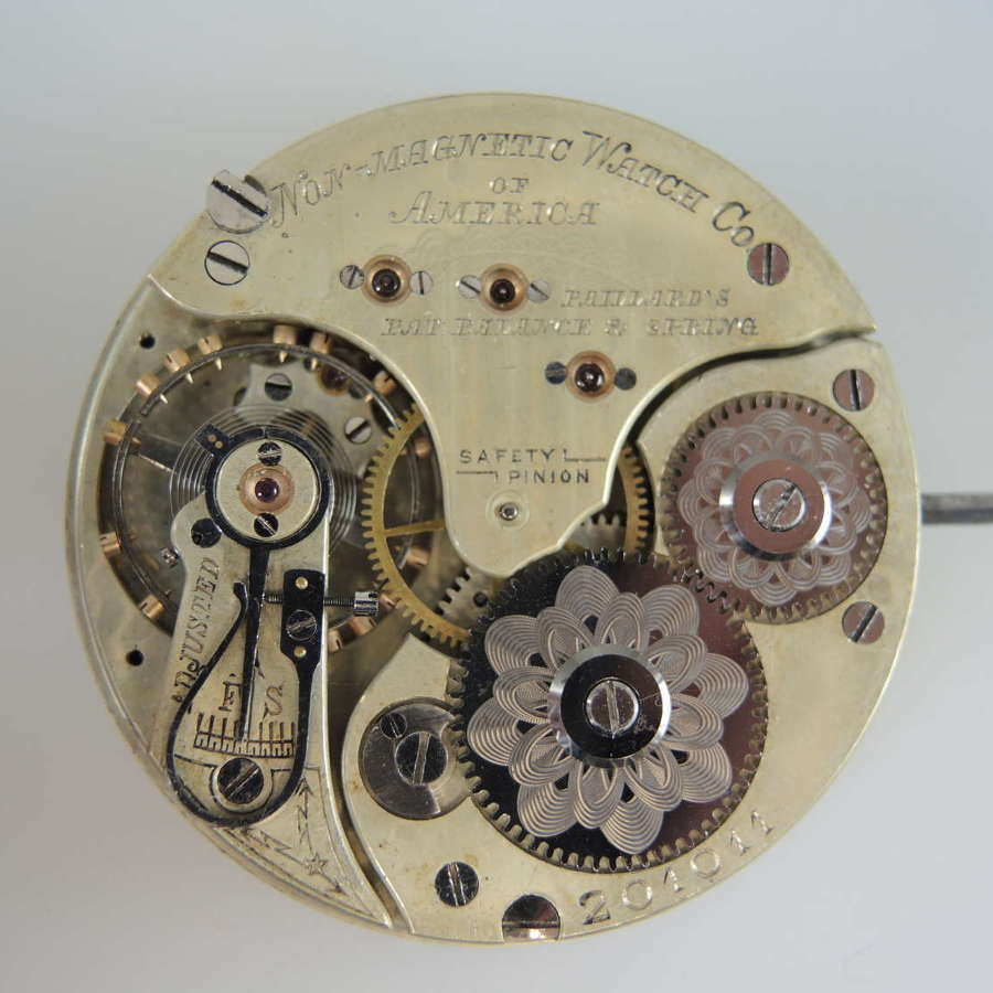 Swiss Non magnetic Watch Co of America pocket watch movement c1890