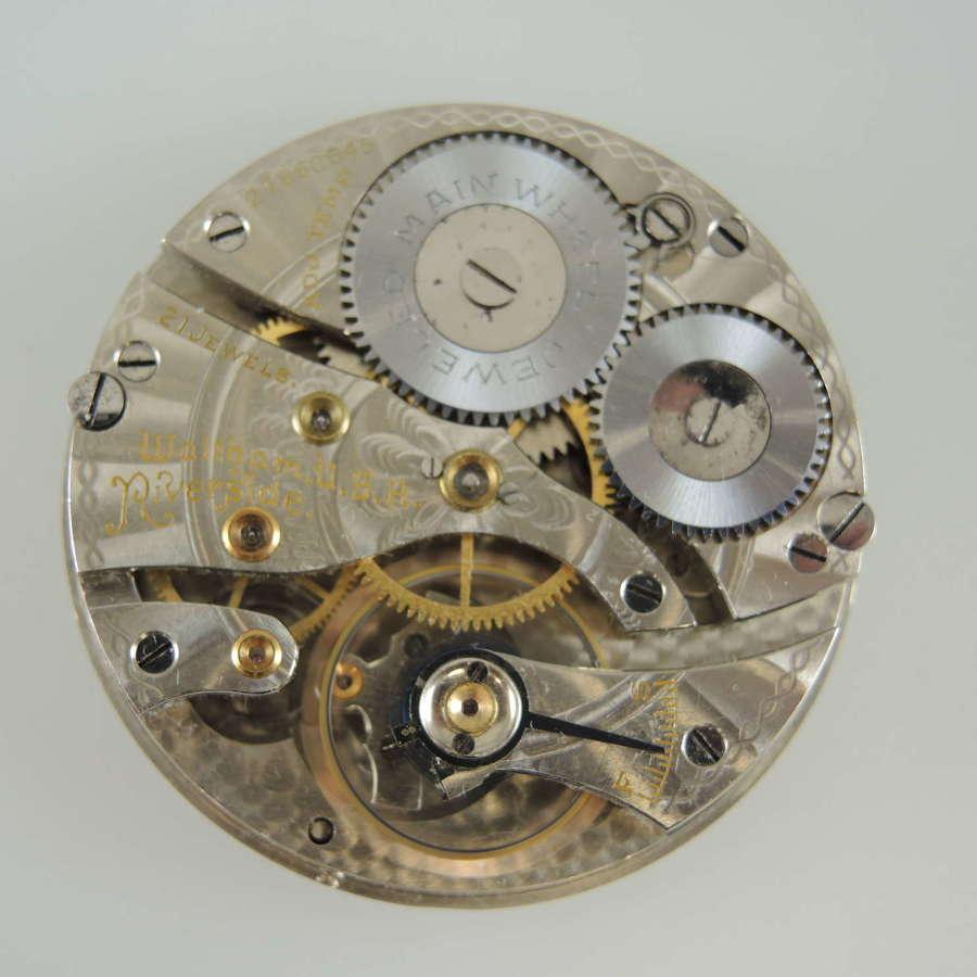 16 size 21 Jewel Waltham Riverside 625 pocket watch movement c1932