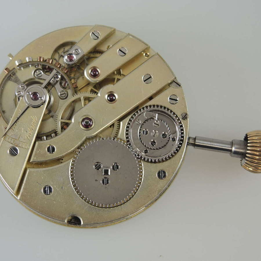 Rare Swiss pocket watch movement with a steel helical hairspring c1890