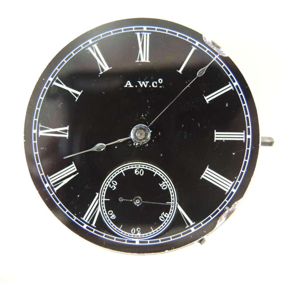 18s 15J Appleton Tracy & Co pocket watch movement. Black dial c1878