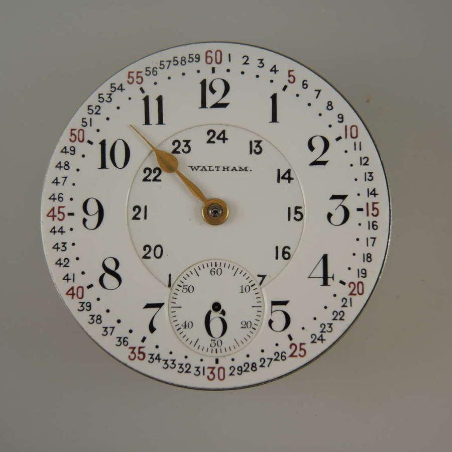 16s 17 Jewel Waltham Royal pocket watch movement. Rare dial c1904