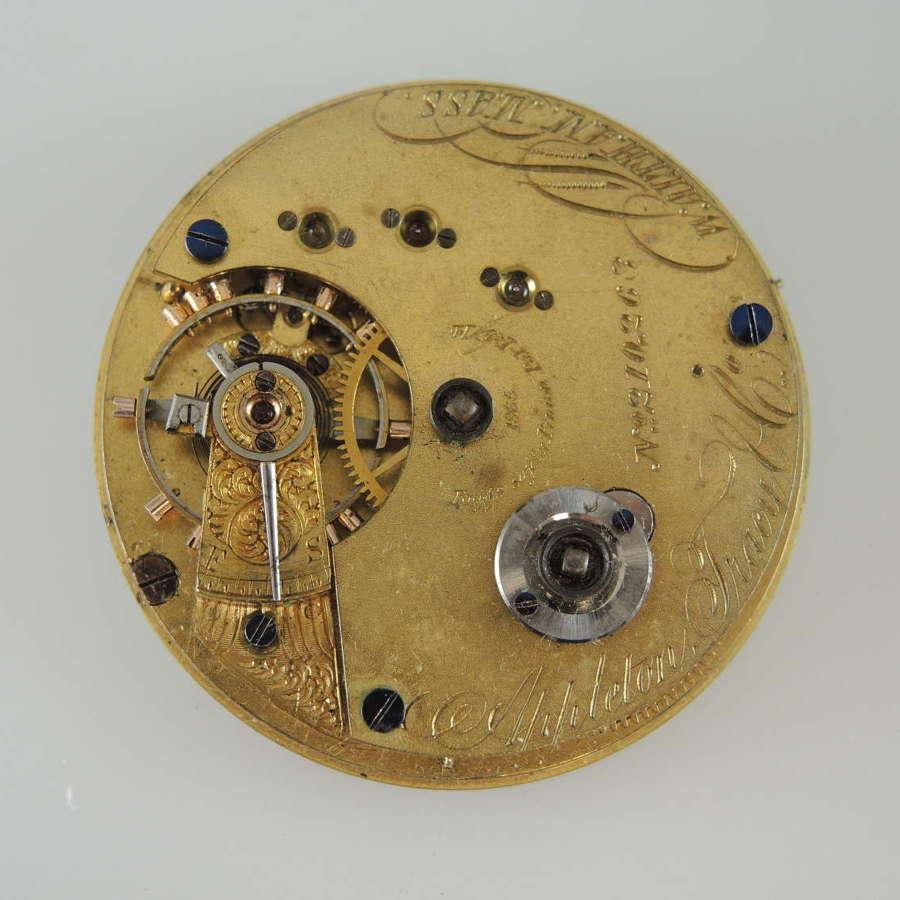 16s 15J Waltham Appleton Tracy & Co pocket watch movement. c1866